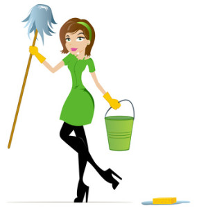 Cleaning Woman with Mop and Bucket